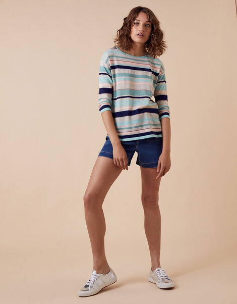 Stripe Lightweight Jumper in Linen Blend Blue, Blue (AQUA), large