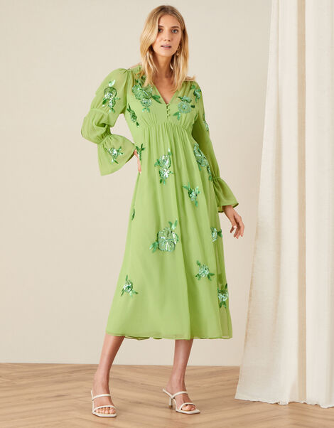 Helena Sequin Floral Midi Dress Green, Green (GREEN), large