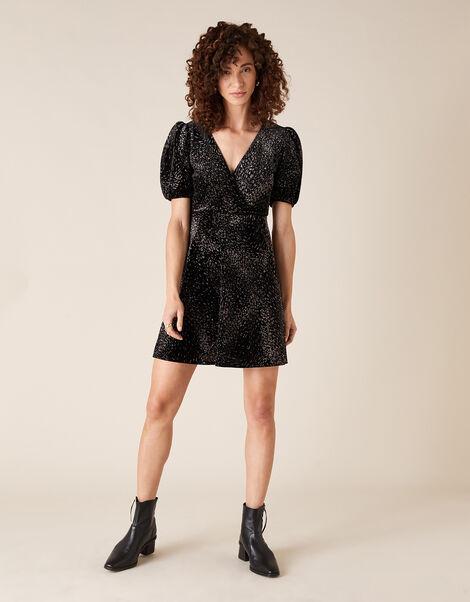 Georgie Glitter Stretch Velvet Dress Black, Black (BLACK), large