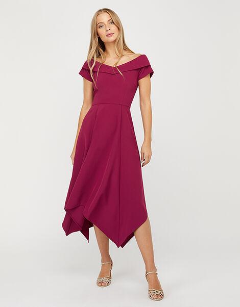 Savea Sustainable Bardot Hanky-Hem Midi Dress Red, Red (BERRY), large