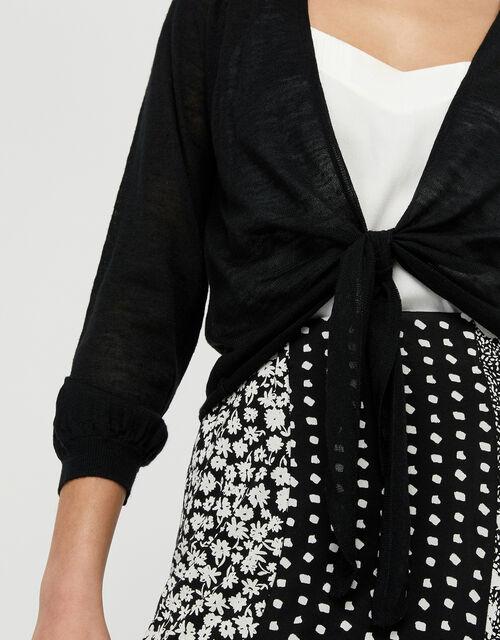 Libby Tie Shrug in Linen Blend, Black (BLACK), large
