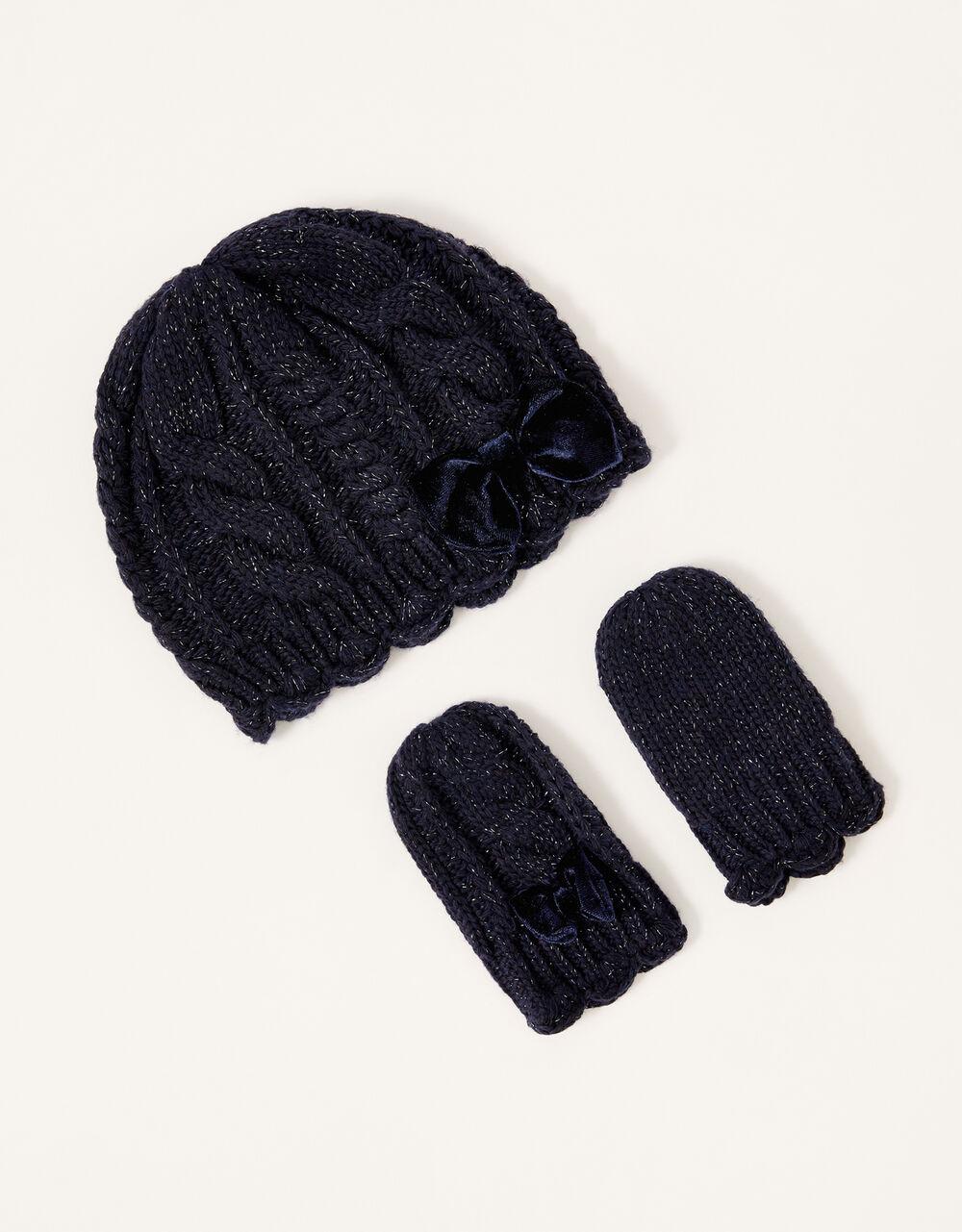 Baby Velvet Bow Sparkle Knit Set, Blue (NAVY), large