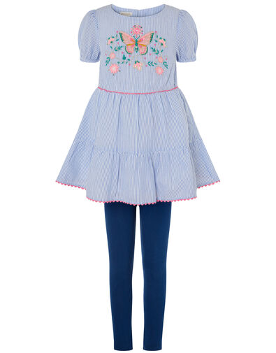 Butterfly Stripe Tunic and Leggings Set Blue, Blue (BLUE), large