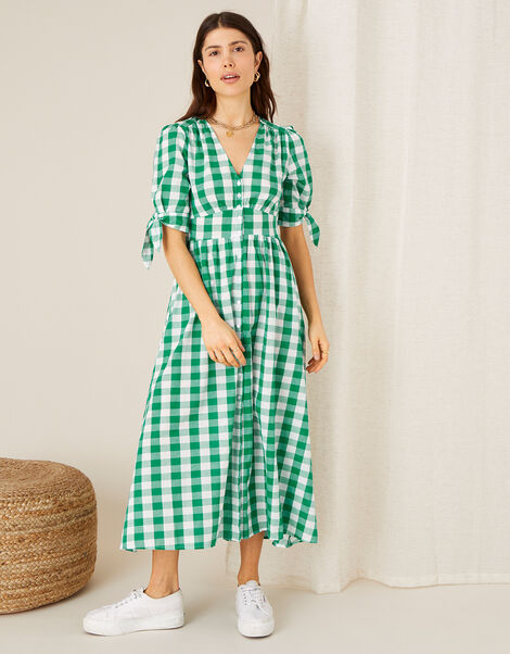 Amina Gingham Print Dress Green, Green (GREEN), large