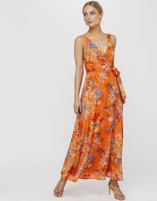Grace Print Embelished Maxi Dress, Orange, large