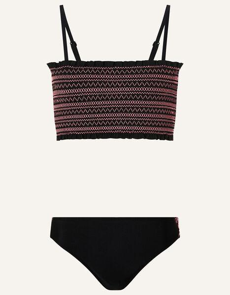 Shirred Bikini Set Black, Black (BLACK), large