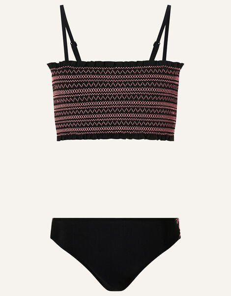 Shirred Bikini Set Black, Black (BLACK), large