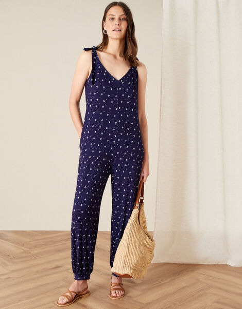 Olly Printed Hareem Jumpsuit Blue, Blue (NAVY), large