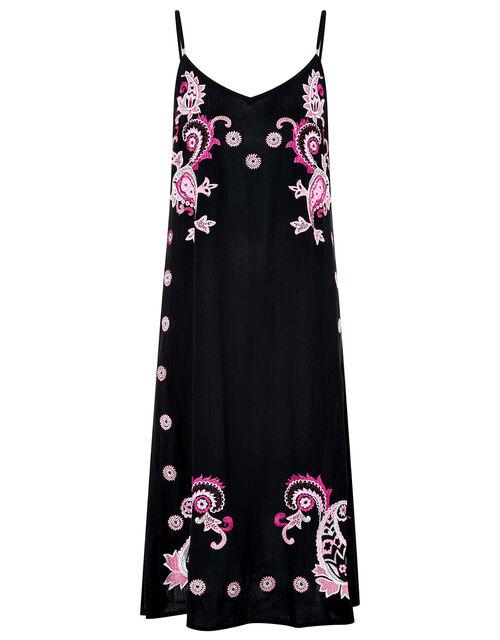 Embroidered Midi Dress in LENZING™ ECOVERO™, Black (BLACK), large