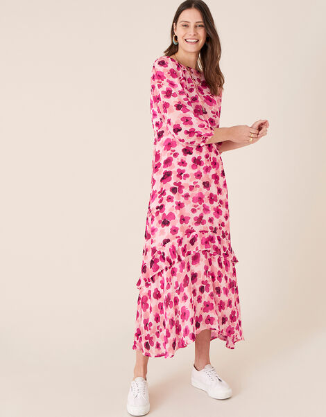 Pompea Poppy Print Midi Dress Pink, Pink (PINK), large