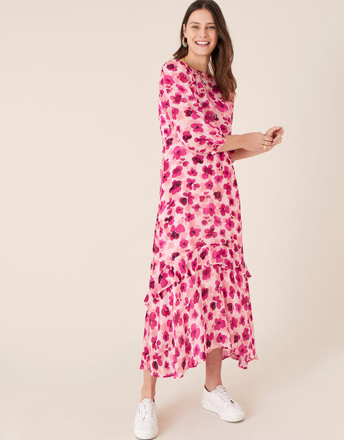 Pompea Poppy Print Midi Dress, Pink (PINK), large
