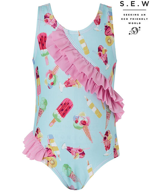 Baby Erica Ice Cream Ruffle Swimsuit with Recycled Polyester, Blue (TURQUOISE), large