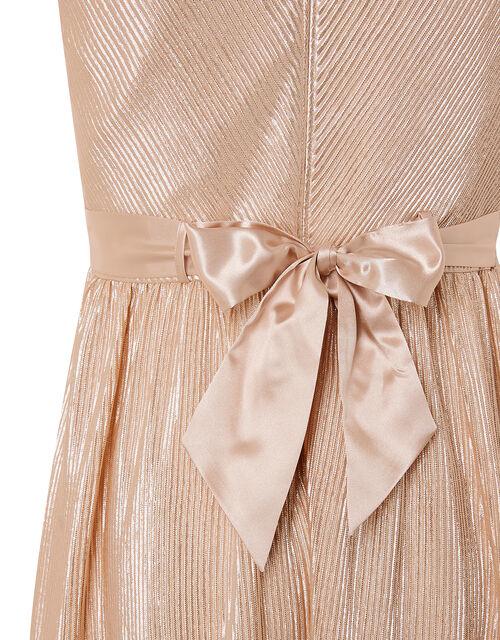 Metallic Plisse Tiered Prom Dress, Gold (GOLD), large