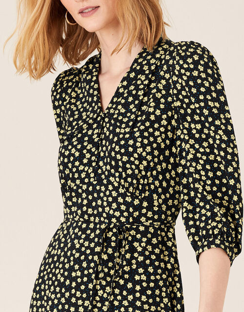 Floral Collar Dress with LENZING™ ECOVERO™, Black (BLACK), large