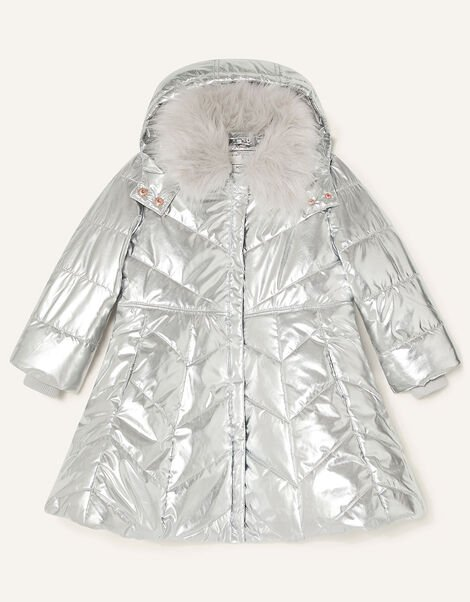 Metallic Padded and Hooded Coat Silver, Silver (SILVER), large