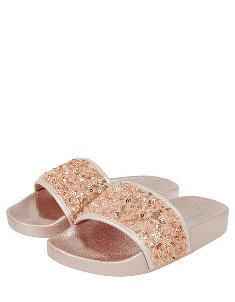 Dazzle Sequin Sliders Pink, Pink (PALE PINK), large