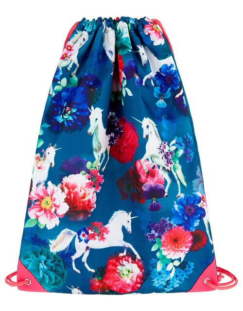 Unicorn Floral Drawstring Backpack, , large