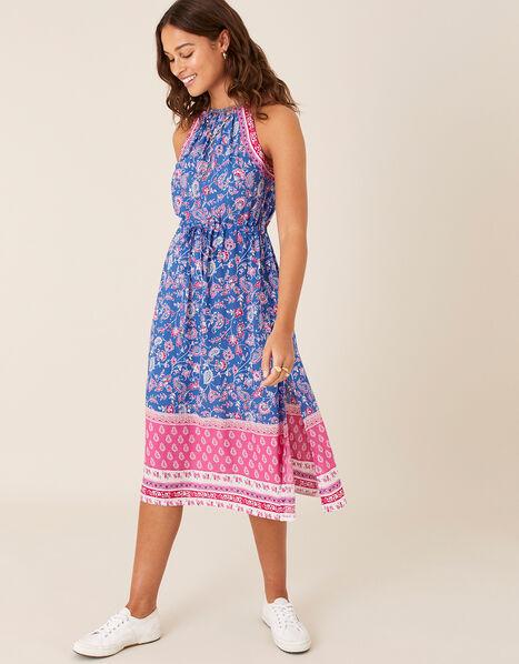 Skylar Printed Dress in LENZING™ ECOVERO™ Blue, Blue (BLUE), large