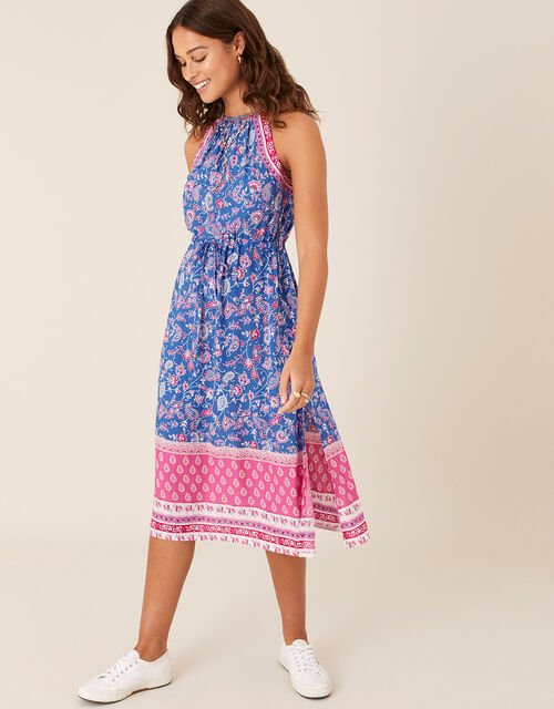 Skylar Printed Dress in LENZING™ ECOVERO™, Blue (BLUE), large