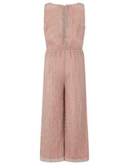 Rose Gold Shimmer Pleated Jumpsuit, Pink (PINK), large