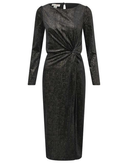 Robyn Foil Print Velvet Midi Dress, Black, large