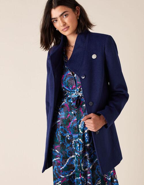 Remmie Short Belted Coat, Blue (BLUE), large