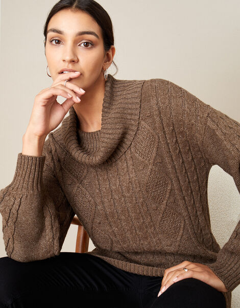 Ida Cable Cowl Neck Jumper Brown, Brown (CHOCOLATE), large