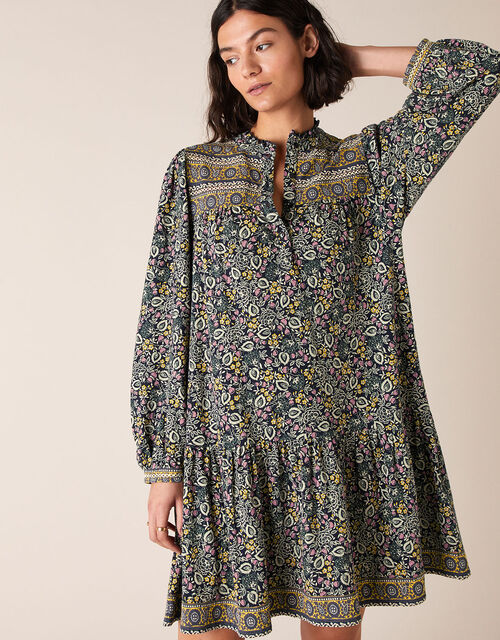 Chrissie Printed Dress with Organic Cotton, Blue (NAVY), large