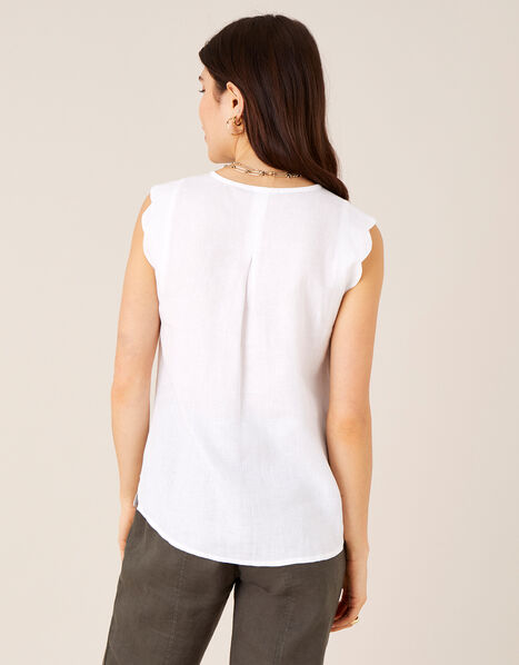 Plain Tank Top in Pure Linen White, White (WHITE), large