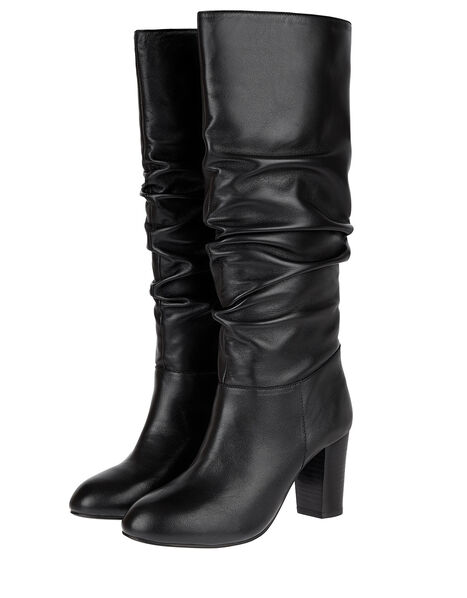 Slouch Leather Thigh Boots Black, Black (BLACK), large