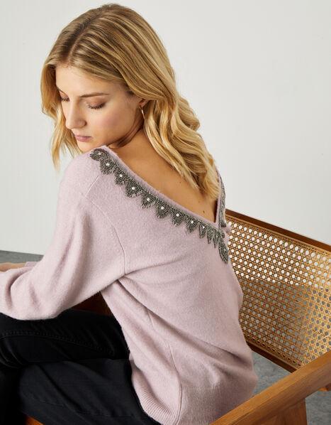 Embellished Back Detail Jumper  Pink, Pink (PINK), large