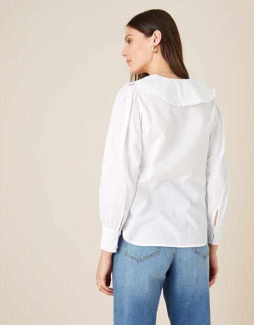 Dobby Collar Blouse , White (WHITE), large