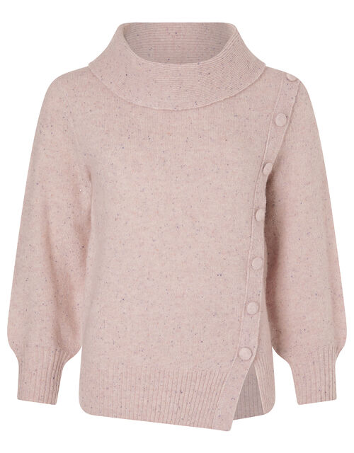 High Neck Button Side Jumper, Pink (PINK), large