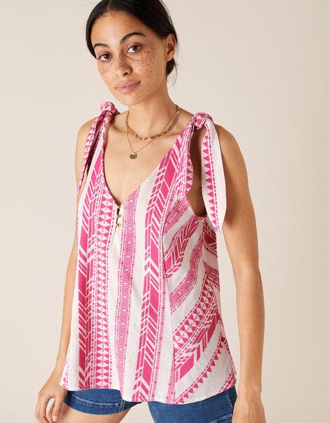 Tie Strap Jacquard Cami Pink, Pink (PINK), large