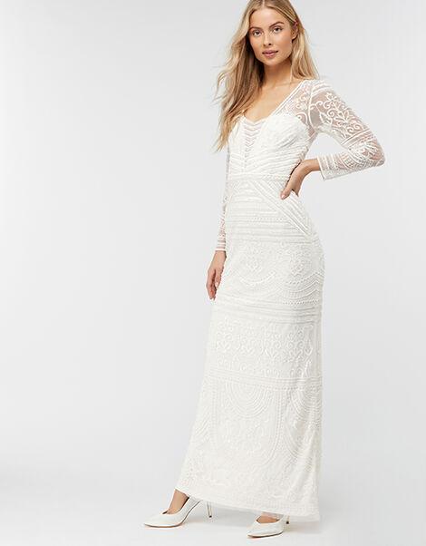 Charlotte Geo Embellished Maxi Wedding Dress Ivory, Ivory (IVORY), large