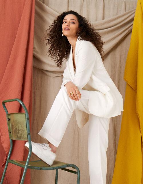 Smart Regular Length Trousers in Linen Blend, White (WHITE), large