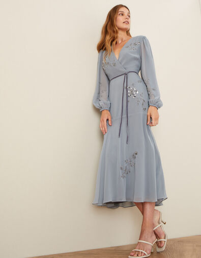 Gracie Embroidered Wrap Dress in Recycled Fabric Grey, Grey (GREY), large