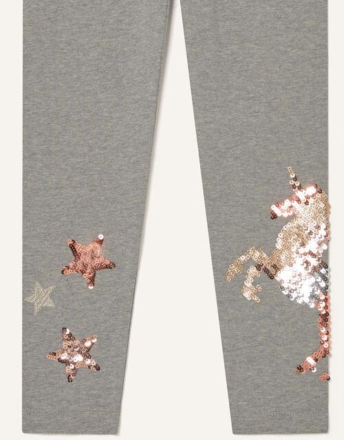 Sequin Unicorn Leggings, Grey (CHARCOAL), large