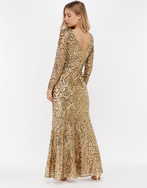 Carlita Sequin Maxi Dress, Gold (GOLD), large