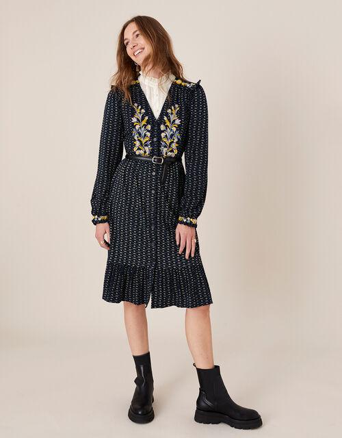 Ginny Geo Print Embroidered Midi Dress, Blue (NAVY), large