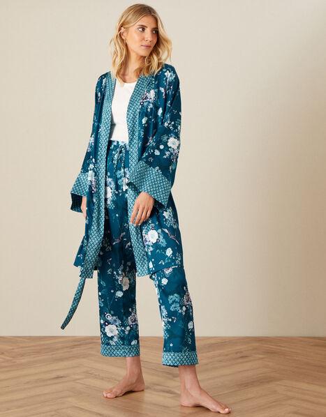 Floral Satin Robe Teal, Teal (TEAL), large