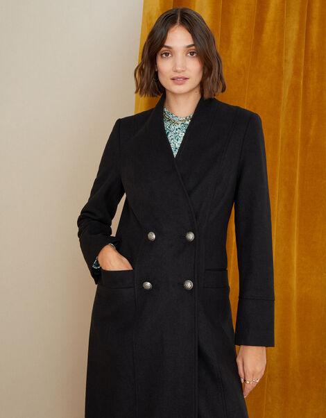 Joey Long Coat in Wool Blend Black, Black (BLACK), large
