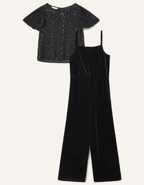 Sequin Top and Jumpsuit Set Black, Black (BLACK), large