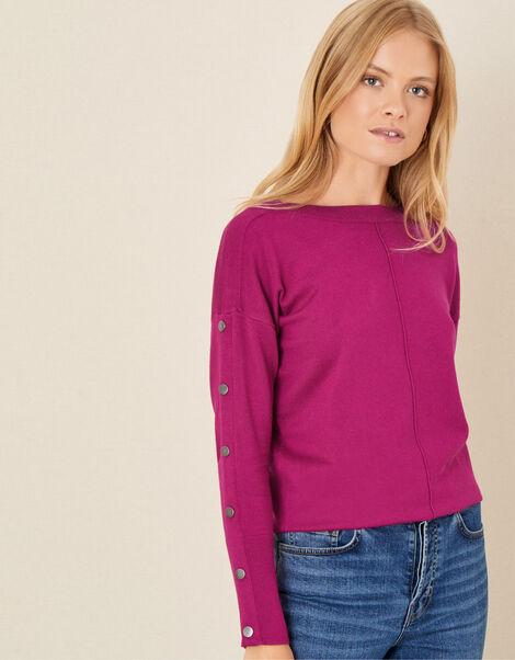 Studded Slash Neck Jumper Pink, Pink (MAGENTA), large