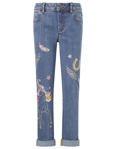 Unicorn Embroidered Jeans Blue, Blue (BLUE), large