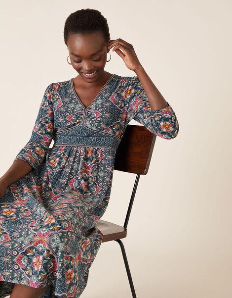 Julianna Heritage Print Dress with Organic Cotton Blue, Blue (NAVY), large