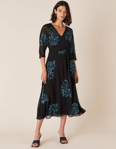Daisy Peacock Embellished Midi Dress Black, Black (BLACK), large