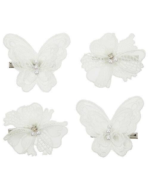 Lacey Butterfly and Floral Hair Clip Set, , large