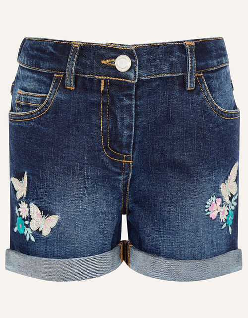 Butterfly Denim Shorts, Blue (BLUE), large