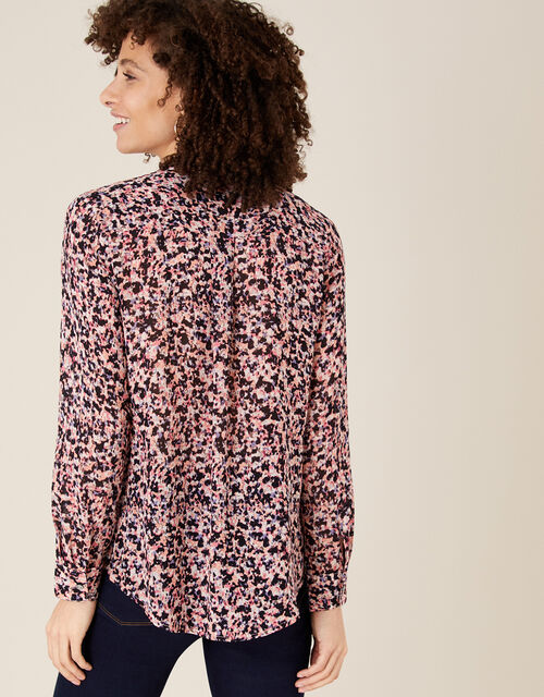 Floral Ruffle Blouse in Sustainable Viscose, Pink (PINK), large